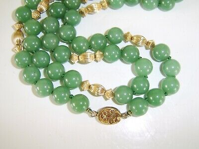 Beautiful Long Chinese Jade Necklace Large Jade Beads Sterling Silver Clasp