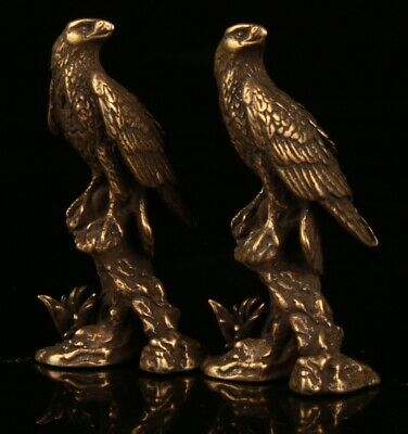 2 Rare Chinese Bronze Handmade Carving Eagle Statue Figurine Old Collection