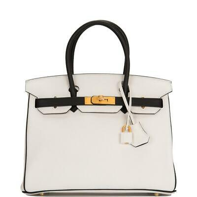 b9d24fc11c3f Hermes HSS Black And White Clemence Birkin 30cm Brushed Gold Hardware