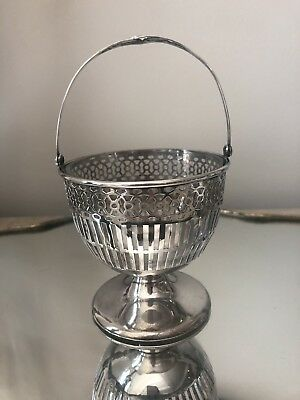 Antique Pierced Webster Sterling Silver Footed Basket w Glass Liner Candy Bowl