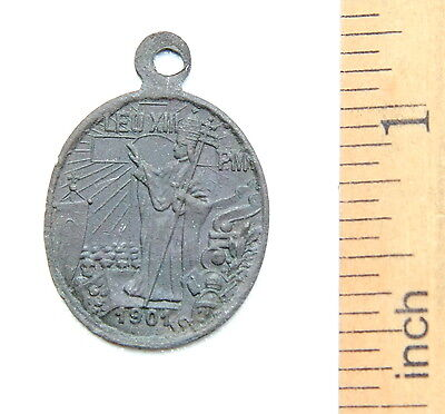 Ancient Old Catholic Medallion Pendant ''Pope Leo XIII''