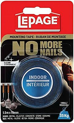 LePage No More Nails Indoor Mounting Tape, Light Duty, 1.5 x 19mm (1876531)