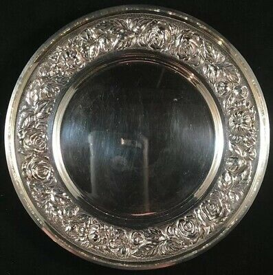 Sterling Silver Bread Plate Stieff Baltimore Rose # 525-W No Mono
