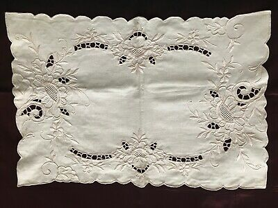 Gorgeous French Antique HANDMADE DOILY - RICHELIEU EMBROIDERY