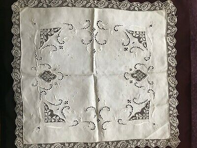 Gorgeous French Antique HANDMADE DOILY - RICHELIEU EMBROIDERY & FILET LACE