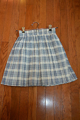 Monkey Wear girls size 10 polyester pleated skirt cream navy blue