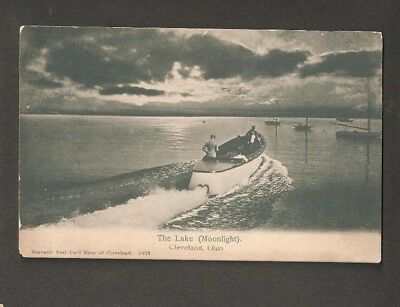 Vtg Postcard The Lake Moonlight Cleveland Ohio OH O Early Undivided back boat