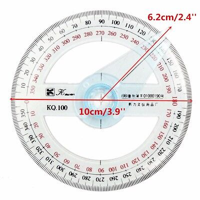 New Plastic 360 Degree Protractor Ruler Angular Viewer Swing Arm School Office !