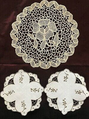 Lot of three Gorgeous French Antique HANDMADE DOILIES