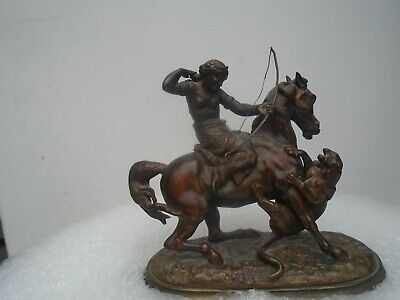 THE TIGER HUNT  Amazing 19th century Bronzed Spelter statue  TAKE A LOOK