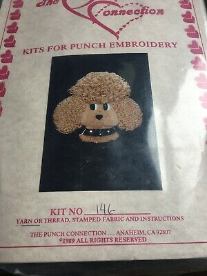 Vintage Punch Embroidery Kit Poodle Dog The Connection Look Rare