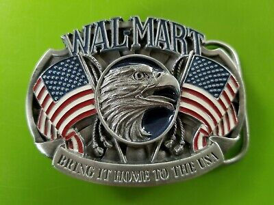 "Wal-Mart ""Bring It Home To The USA"" Belt Buckle 940787 Eagle Flags Enamel Ltd Ed"