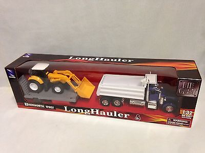 Kenworth W900 Dump Truck w/Front Loader Flatbed Trailer,1:32 Diecast,New Ray Toy