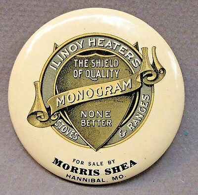c. 1910 ILINOY MONOGRAM STOVES Morris Shea Hannibal MO celluloid pocket mirror *