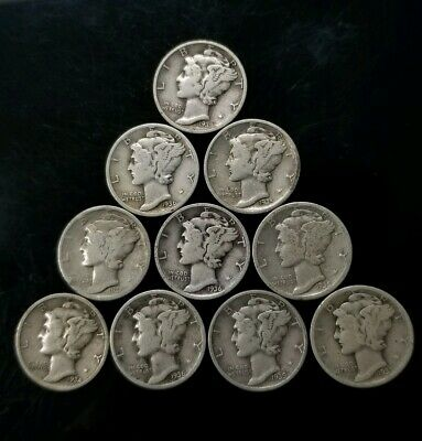 1930's Mercury Dimes Lot of 10 - 90% Silver - US Coins [SC8281]