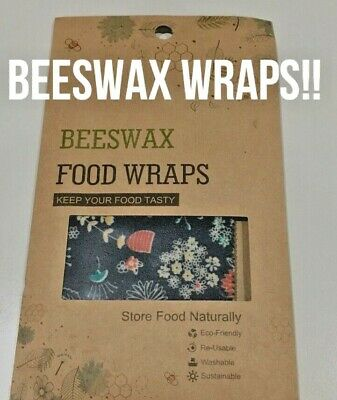 Beeswax Wraps, Beeswax food wraps, reusable wrap, 3 Pack. Small, Medium, Large