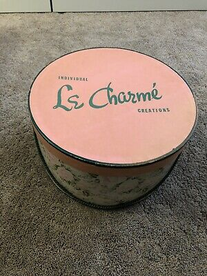 LE CHARME Roses Flower Design with Pink Cover Vintage 40's-50's Hat Box