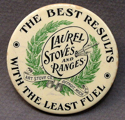 c. 1910 LAUREL STOVES & RANGES Detroit Michigan celluloid pocket mirror *
