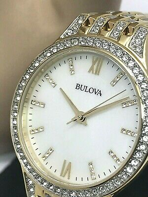 Bulova 98L234 Women's Crystals Collection Gold Tone Stainless Steel Quartz Watch