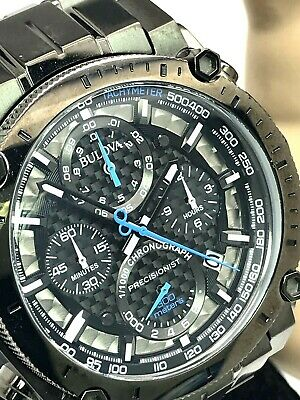 Bulova Precisionist 98B229 Gunmetal Steel Chronograph Men's Tachymeter Watch