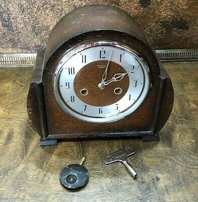 32036  Vintage 1950s SMITHS ENFIELD Striking  MANTEL CLOCK  with Key