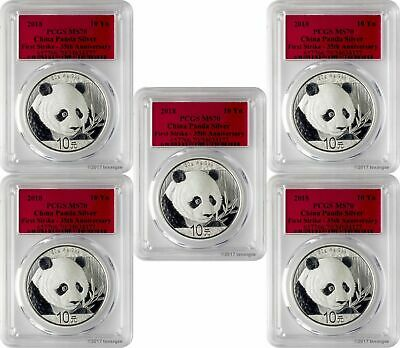 2018 10 Yuan China Silver Panda 30 Gram .999 Silver PCGS MS70 FS Lot of 5
