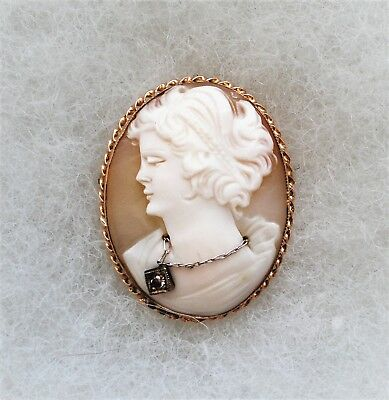 Antique Deco 14K Yellow Gold Diamond Carved Shell Cameo Brooch Pin Pendant 5.4 g