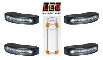 Set of 4 LED Autolamps wide angle corner amber flashing warning light ECE R65