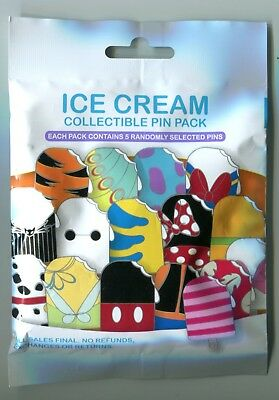 Disney Parks Ice Cream Mystery Pin Pack New & Unopened 5 Pin Mystery Bag