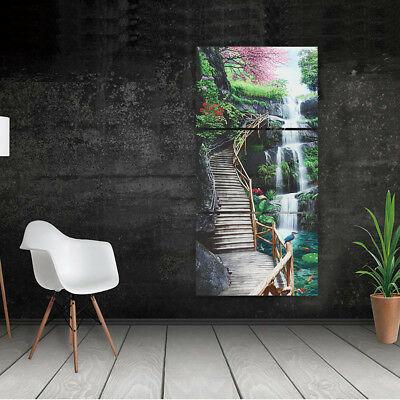 Waterfall Landscape Canvas Print Painting Home Wall Decor Art Poster 3 Panels !