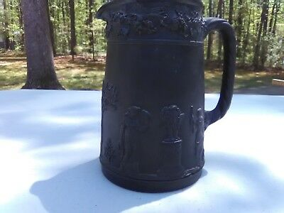Wedgwood Black Basalt Angel Cherub Grecian women Pitcher