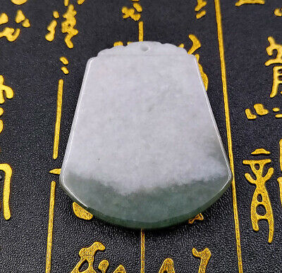 Natural Jadeite Charm Concise Jade Pendant By Hand Carving Figurine Sculpture