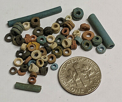 More than Fifty 2500 Year old Ancient Egyptian Faience Mummy Beads (K5712)