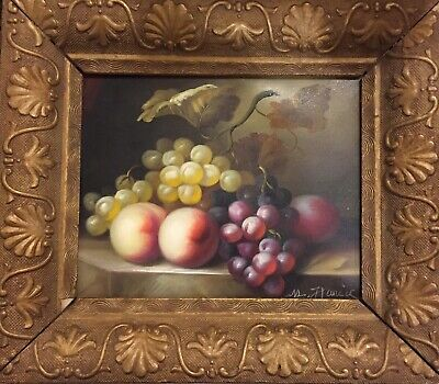 Victorian Framed Oil Painting Fruit Signed