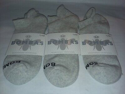 New NWT 3 Pair Bombas Men's Ankle Socks Crew Gray X-Large XL