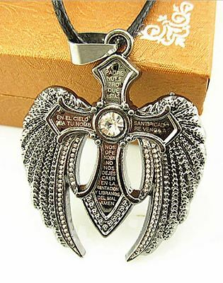 Angel Winged Cross Pendent And Rope Chain With Crystal