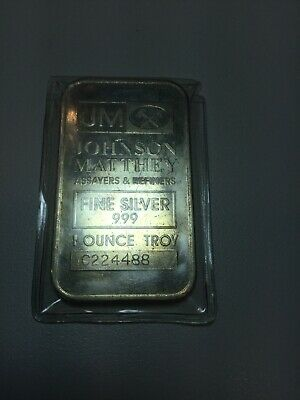 Johnson Matthey JM Silver 1oz Bar .999 COOL Doubling Serial Number C224488