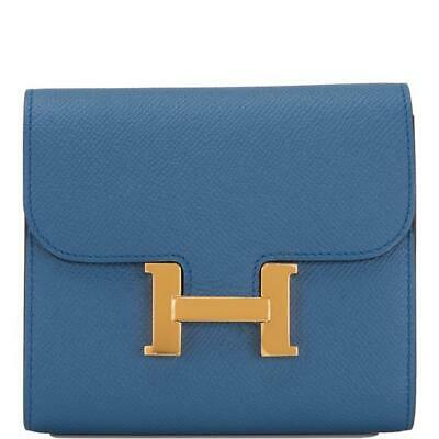 10f30c6678f7 HERMES CONSTANCE COMPACT Wallet Purse Rose extreme Red Pink Epsom ...
