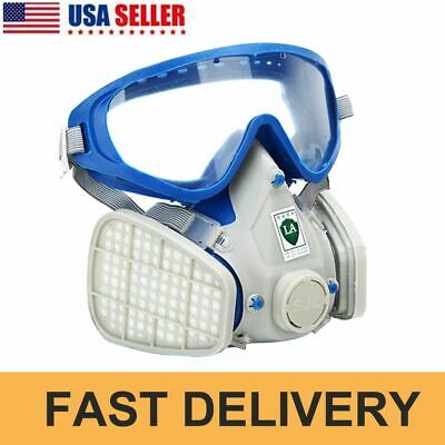 Double Filter Full Face Gas Mask Breath Respirator Painting Dust Protector US