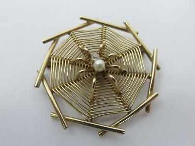 A+ Fabulous Vintage SPIDER on WEB Insect BROOCH 14K Gold Diamond Pearl ESTATE