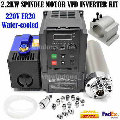 Router 2.2KW Spindle Motor ER20 Water-Cool 24000RPM+VFD Inverter+Collet+Bracket