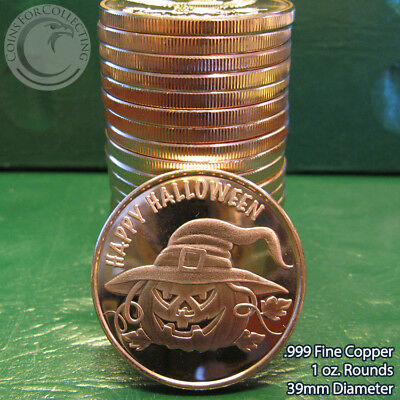 """20 """"Halloween"""" 1oz .999 Copper 20 Beautiful Rounds 1 Roll Tube"""