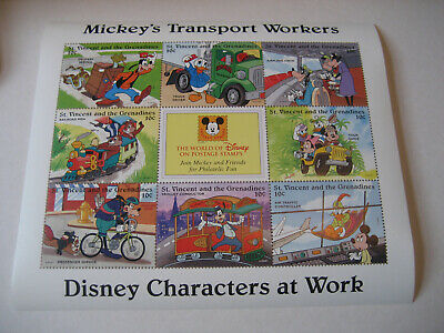 St. Vincent & The Grenadines 1996 Disney Personajes a WORK-MICKEY'S Transporte