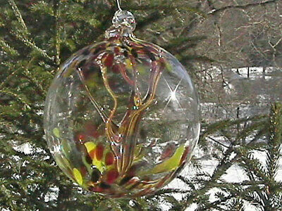 """Hanging Glass Ball 6"""" Diameter """"Vermont Fall Tree"""" Witch Ball (1) #112"""