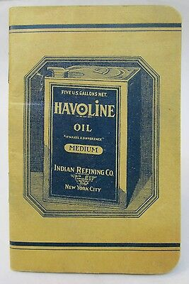 c.1920 or earlier HAVOLINE OIL INDIAN REFINING CO. Texaco pocket notebook