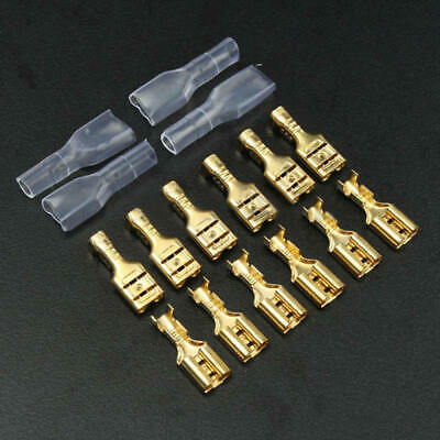 200Pcs 4.8mm Gold Plated Crimp Terminal Female Spade Brass Plastic Connector new