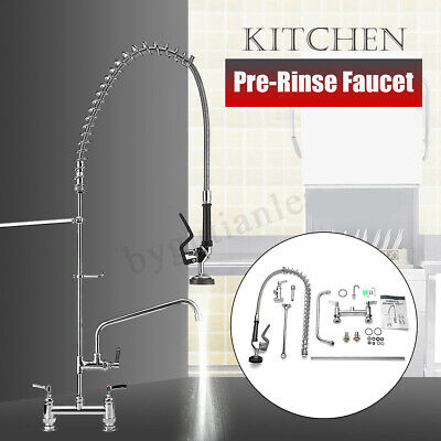 50'' Restaurant High Pressure Commercial Kitchen Pre-Rinse Faucet w/ Add-On Tap