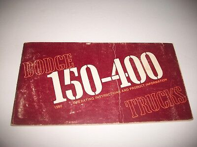 1980 Dodge Truck Owners Manual 150-400