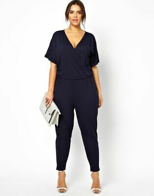 Asos Curve Navy Jumpsuit Crossover Front Size 22-24