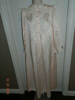 Christian Dior Vintage Peach Lace 1980's Nightgown Silky Satin Lace Lingerie S